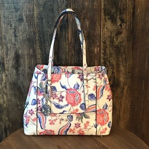 Guess, White Red & Blue Paisley Satchel